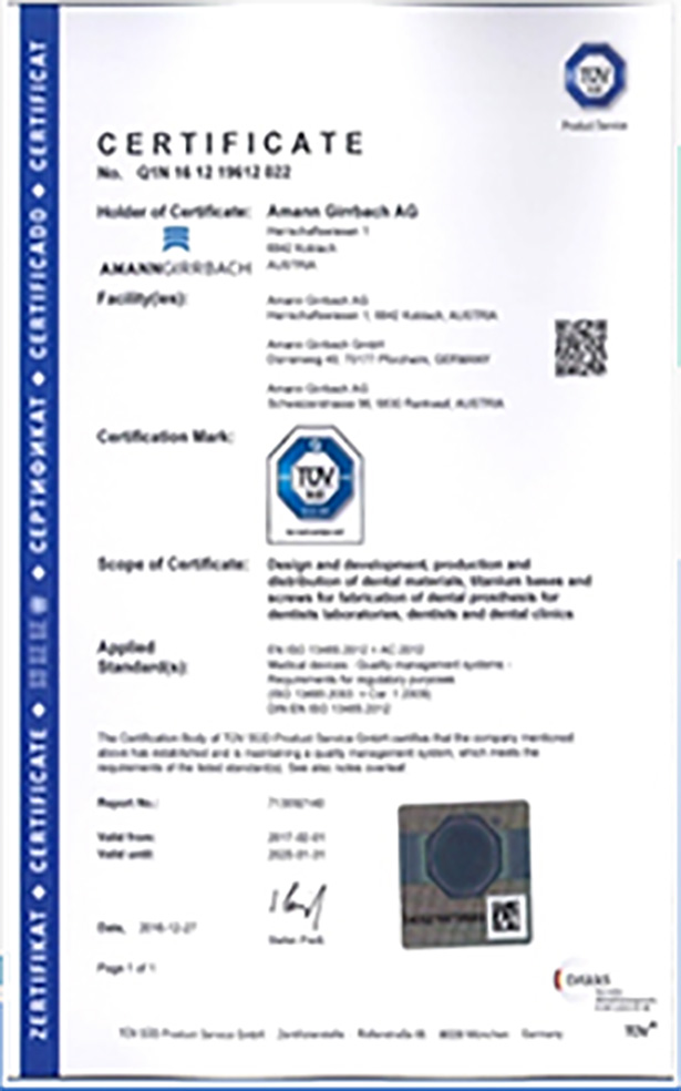 EC CERTIFICATE – for the Quality Assurance System